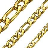 """ChainsHouse 3/5/8 mm Collana a Catena Figaro Acciaio Inossidabile/Catena a Maglia Figaro placcata Oro 18 carati per Uomo Donna, 18""""-32"""", Gioielli di Moda"""
