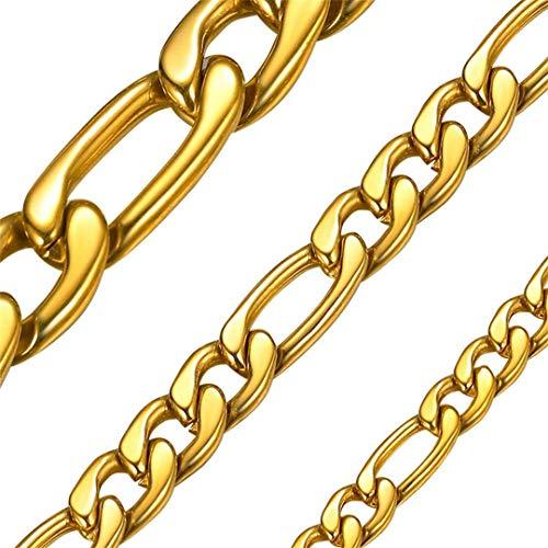 ChainsHouse Gold Figaro Link aus Edelstahl 5mm breit 51cm lang Gelieder Collier mit Geschenkebox für Damen und Herren