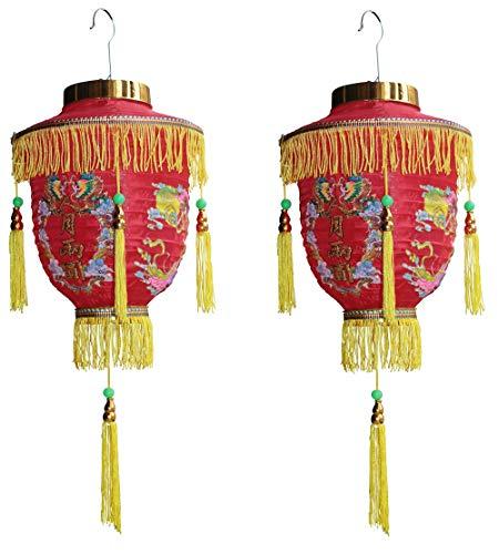 XL Laternen 2 Stück Japanische Chinesische Asiatische Lampions Dekoration mit Quasten Lantern Lampenschirm Sushi