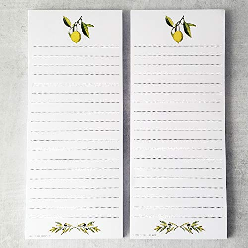 Lemon and Olive Branch Refrigerator Notepads - Set of 2 Pads