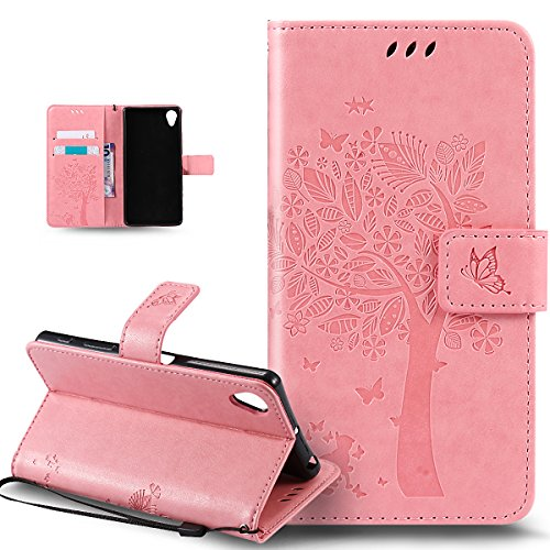 Kompatibel mit Sony Xperia X Hülle,Sony Xperia X Schutzhülle,Prägung Katze Schmetterlings Blumen PU Lederhülle Flip Hülle Handyhülle Ständer Tasche Wallet Hülle Schutzhülle für Sony Xperia X,Rosa