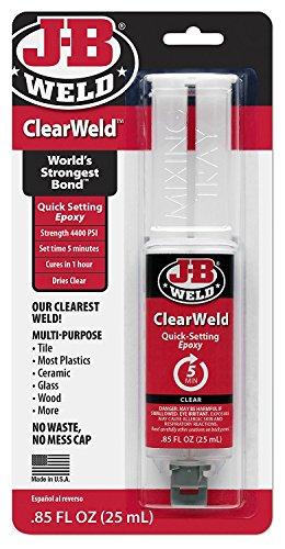 J-B Weld 50112 Clear 25 ml ClearWeld Quick-Setting Epoxy Syringe (Pack of 2)