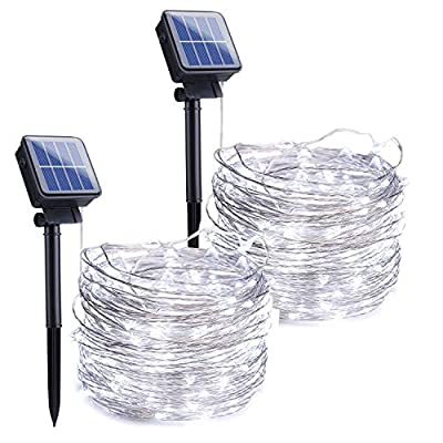 Outdoor Solar String Lights, 2 Pack 33FT 100 LED Solar Fairy Lights Waterproof Decoration Copper Wire Lights with 8 Modes for Patio Yard Trees Christmas Wedding Party Decor (Pure White)