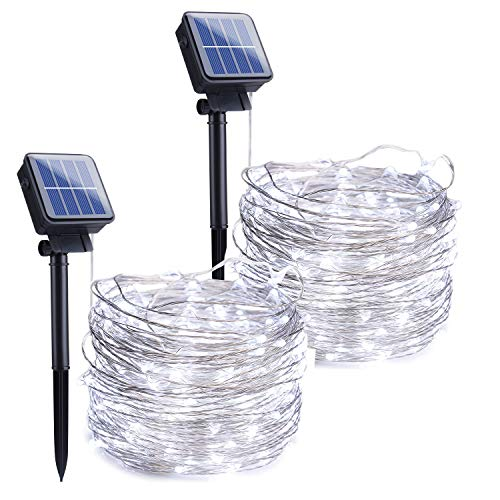 Outdoor Solar String Lights, 2 Pack 33 Feet 100 Led Solar Powered Fairy Lights with 8 Lighting Modes Waterproof Decoration Copper Wire Lights for Patio Yard Trees Christmas Wedding Party (Pure White)
