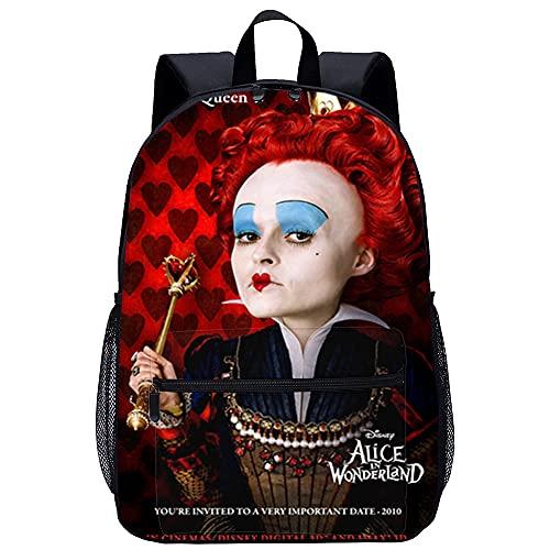 WBLWBL Kinder Schulrucksäcke Alice im Wunderland Red Queen Rucksack schwarz 31*14*45cm Lustig bedruckte personalisierte leichte Vorschultasche für Kinder Mädchen Jungen