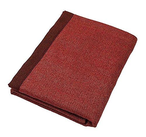 McAlister Textiles Herringbone | Longue Couverture Lit Plaid Nappe Fibre de Laine Epaisse Tissée Vintage Shabby Chic de couleur Rouge Brique | 50x240cm