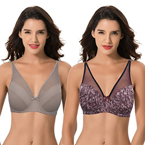 Curve Muse Plus Size Minimizer Underwire Bra with Floral and Leopard Print-2pack (Size:44DDD)