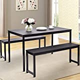 Dining Table Set, Hinpia 3 Pieces Modern Kitchen Table Set with 2 Benches, Wood Tabletop with Metal Frame (Black)