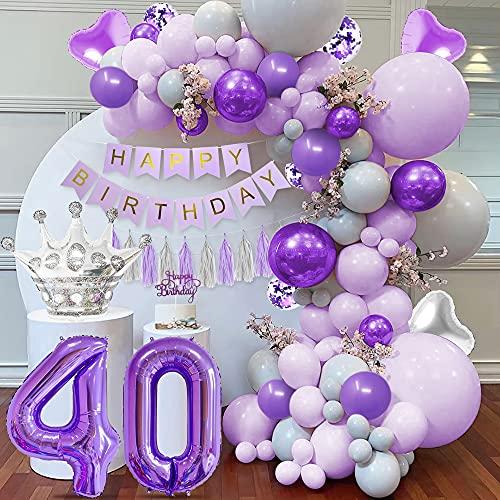 Decoración cumpleaños morado 40, globo número 40, globos morados pastel, globos morados grises macaron, pancarta HAPPY BIRTHDAY, globos morados metálicos, globos confeti morados, globos corazón