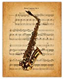 Vintage Saxophone Sheet Music Wall Art Print: Unique Room Decor for Boys, Men, Girls & Women - (11x14) Unframed Picture - Great Gift Idea Under $15 for Music Lovers!