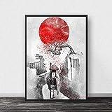 AHJJZS Bushido Samurai Kanji Carteles E Impresiones Lienzo Arte Pintura Cuadros De Pared para Decoración De Sala De Estar...