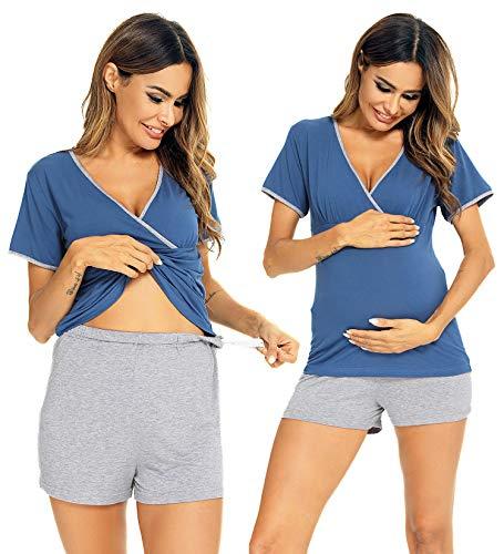 LecGee Women's Maternity Nursing Pajama Set Breastfeeding Short Sleeve V Neck Pregnancy Sleepwear Navy