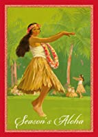 ロイヤルハワイアンフラby Percy Padden–12のセットハワイアンクリスマスcards- Season 's Aloha GLITTERカード