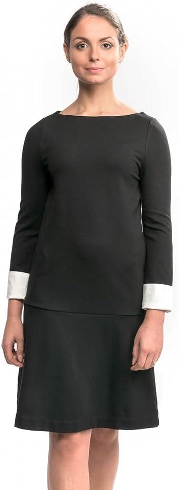 French Connection Lula Cuff Long Sleeve Slash Neck Womens Dress Black/Summer White