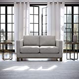 Edenbrook Parkview Upholstered Loveseat with Wood Base-Two-Cushion Design-Contemporary Feel Love Seats, Misty Gray