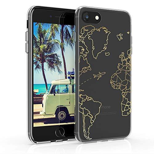 kwmobile Cover Compatibile con Apple iPhone 7/8 / SE (2020) - Back Case Custodia Posteriore in Silicone TPU per Smartphone - Backcover Travel & Explore Oro/Trasparente