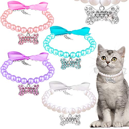 4 Pieces Small Dog Pearl Necklace w…