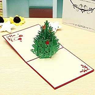 Customer reviews 3PCs Merry Christmas Cards 3D GREEN TREE PAPER CARD Xmas Pop Up Greeting Card Handmade Wishing Invitation paper Cards Gifts for Christmas New Year:Savelaguasia
