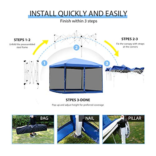 VIVOHOME 210D Oxford Outdoor Easy Pop Up Canopy Screen Party Tent with Mesh Side Walls Blue 10 x 10 Feet