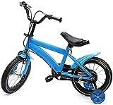 MINUS ONE 14 Pouces vélo Filles vélo Filles Vélo pour Enfants avec Roues d'entraînement et Cloche - Le vélo comme Cadeau pour Les Filles et Les garçons (Bleu)