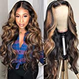 WEIKI Women's Wigs Mid-point Dyed Black Gradient Brown Long Curly Hair Big Waves (Brown-black)