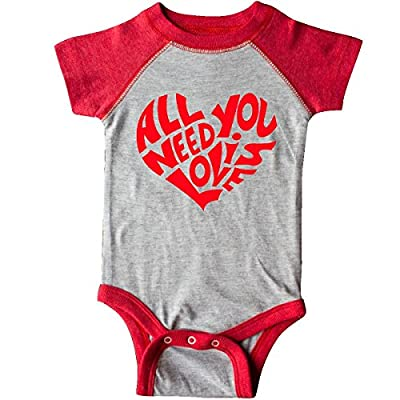 inktastic All You Need is Love Red Heart Infant Creeper Newborn Heather and Red