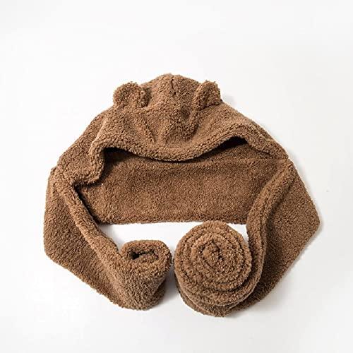 Sciarpe Autunno E Inverno Outdoor Protezione per Le Orecchie da Donna Pullover Cappello Sciarpa OneSize Brown