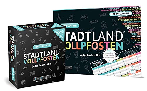 DENKRIESEN Stadt Land VOLLPFOSTEN - JUNIOR-Duo - Das Kartenspiel und der Spielblock - Junior Edition
