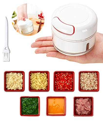 Manual Food Chopper - Mini Hand Pull Food Processor Garlic Press Mincer Vegetable Grinder for Meat Nuts Pepper, Baby Food Best Tool BPA Free/Durable (White)