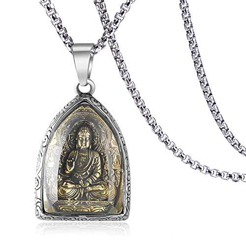 Sinymilk Thai Hipster Buddha Statue Amulet Mens Gold Buddhist Titanium Pendant Necklace