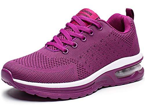 GAXmi Damen Luftkissen Laufschuhe Mesh Atmungsaktiv Running Fitness Turnschuhe rutschfest Stoßfest Outdoors Sportschuhe Violett 38.5 EU (Etikette 40)