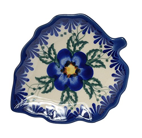 Traditionelle Polnische Keramik, ein handgefertigter Untersetzer oder Löffelablage mit Muster im Bunzlauer Stil, H.401.PANSY