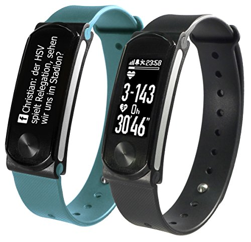SportPlus, Activity Tracker Q-Band HR + –, fitness tracker con display OLED per iOS e Android con cardiofrequenzimetro, unisex