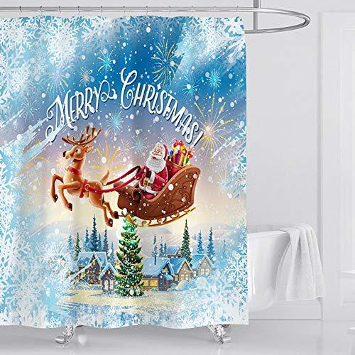 JF Room Weihnachten Duschvorhang, Anti-Schimmel Wasserabweisend Shower Curtain 3D Digitaldruck Weihnachten Motiv mit lebendigen Farben