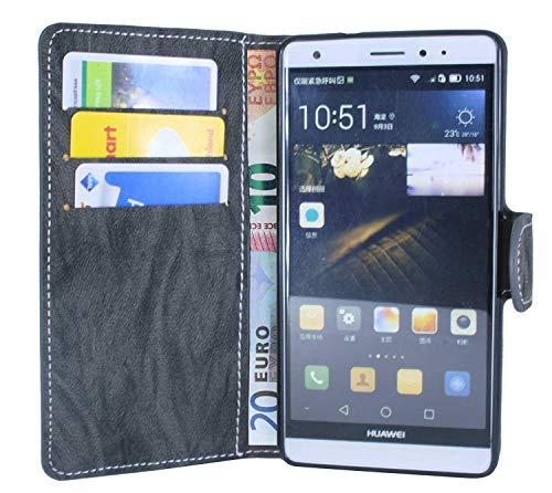 Huawei Ascend Mate S Buchtasche Hülle Case Tasche Wallet BookStyle mit STANDFUNKTION Anthrazit @ Energmix - 2