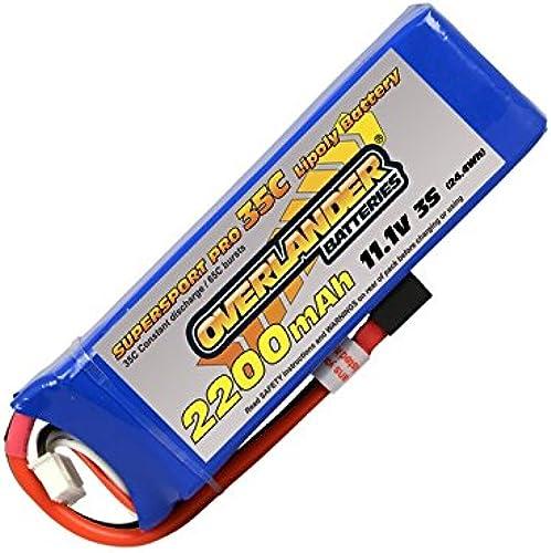 2200mAh 3S 11.1v 35C LiPo Battery - Overlander Supersport Pro