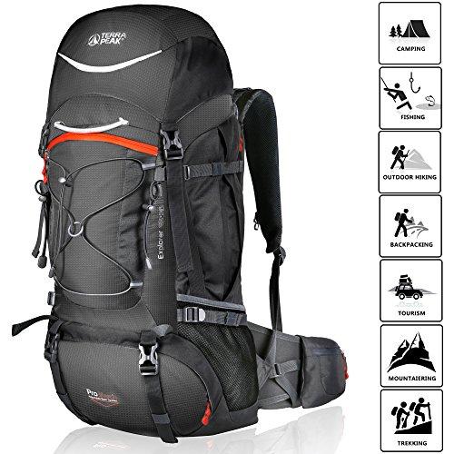 TERRA PEAK Adjustable Hiking Backpack 85L+20L for Men Women Black