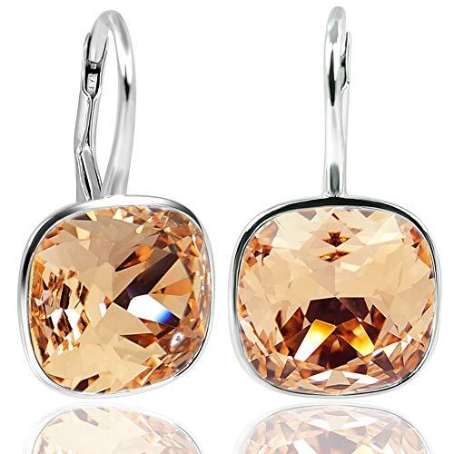 Ohrringe mit Kristalle von Swarovski® Silber Pfirsich Orange NOBEL SCHMUCK