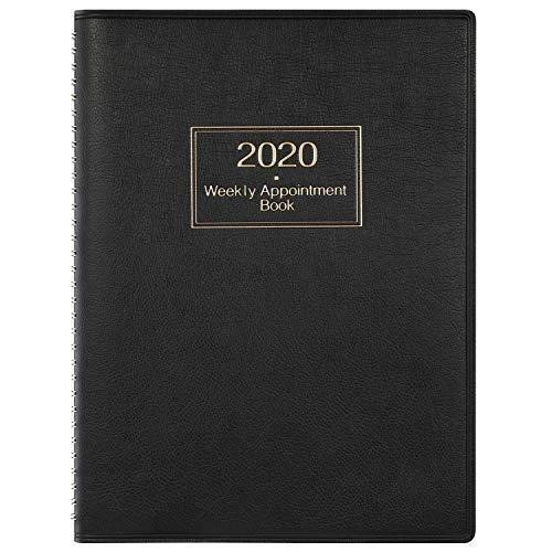 Agenda 2020 Settimanale, 2020 Diario A4 Settimana per visualizzare il pianificatore orario in 15 minuti, 21,8 x 29 cm, Libro degli appuntamenti con copertina morbida con rilegatura ad anelli - Nero