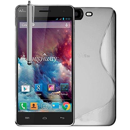 VComp-Shop® S-Line TPU Silikon Handy Schutzhülle für Wiko Highway 4G + Großer Eingabestift - TRANSPARENT