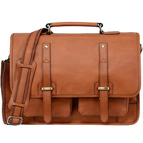 Banuce Full Grain Italian Leather Briefcase for Men 15.6 Inch Laptop Messenger Bag Travel Business Bags Shoulder Satchel Bag