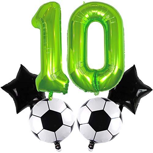 DIWULI, großes Fußball Luftballon Set, XXL Zahl 10 Zahlen-Ballon grün, Fussball Folien-Ballon Ball, Stern-Ballon schwarz, 10. Kinder-Geburtstag Junge, Motto-Party, Dekoration, Folien-Luftballon, Sport