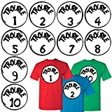 Calculs Costume Shirt Iron on Transfers Trouble 1 and Trouble 2 Iron On Heat Transfers for Kids Clothing 10 Sheets 10 Inches Large Vinyls