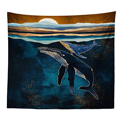 Boyouth Tapiz de paisaje natural para colgar en la pared, diseño abstracto de ballena y puesta de sol, impresión digital, decoración del hogar, mural, toalla de playa, 70.8 pulgadas por 90.5 pulgadas