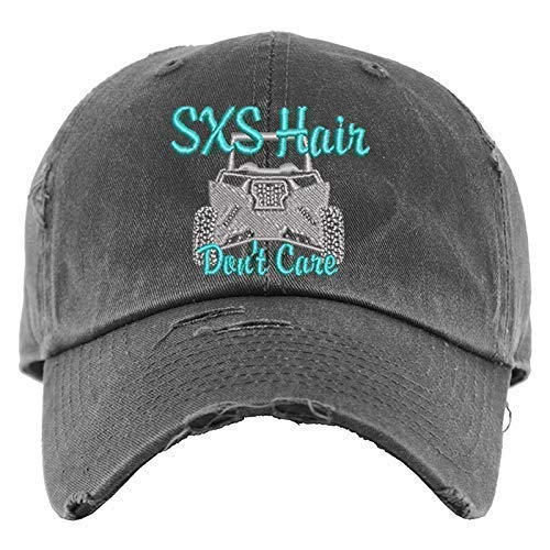 SXS Hair Don't Care Hat with ATV | Distressed Baseball Cap OR Ponytail...