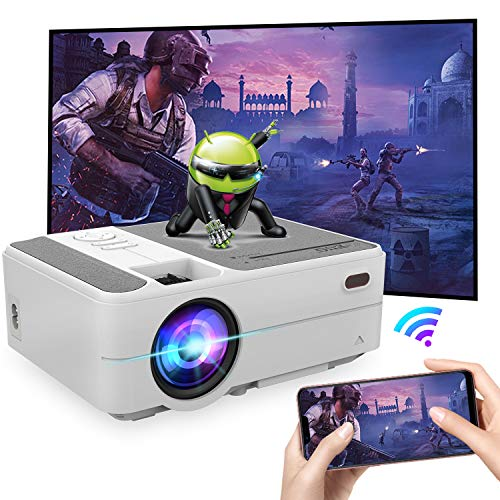 Portable Wifi Bluetooth Home Outdoor Wireless Projector Mini Smart HD Cinema Theater Movie Gaming TV Video Projectors Support 1080P Airplay HDMI USB VGA AV Audio SD Port for Phone Tablet Laptop PC DVD