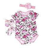 Feixiang Black Friday Ropa para bebé Niña recién Nacida Mono Floral Medias + Zapatos + Diadema Conjunto de Tres Piezas Conjunto de Disfraces Bebé Femenino