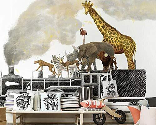 Vliesbehang 3D Original Animal Family trein 3D cartoon muur wallpaper voor kinderen room kleuterschool cartoon sticker 350*245 350*245