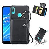 Huawei Cases for Huawei Y7 (2019) Shockproof PC + TPU Protective Case, with Card Slots & Wallet & Photo Frame & Lanyard(Black) Huawei Cases (Color : Black)