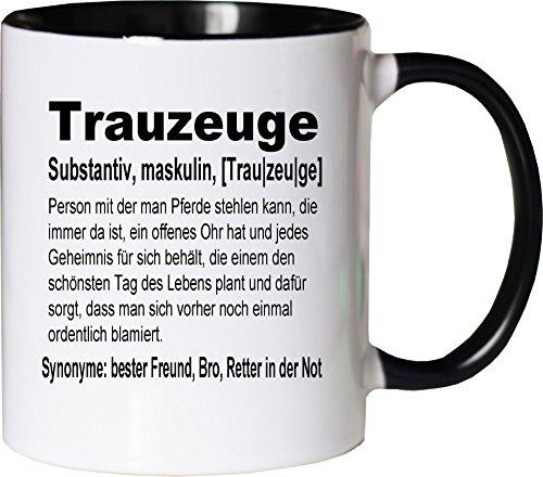 Mister Merchandise Kaffeebecher Tasse Trauzeuge Definition Buddy Bro Buddies Freundschaft Helfer BFF Teetasse Becher Weiß-Schwarz